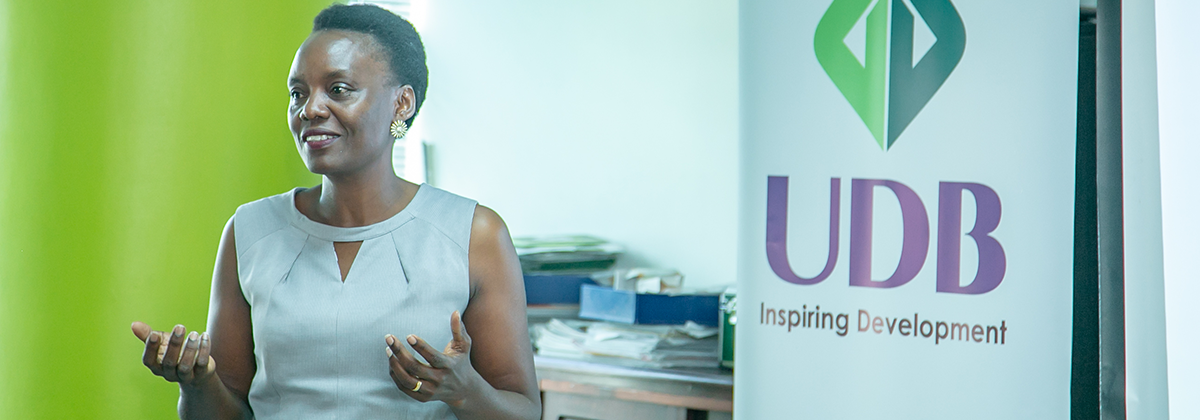 Goretti Masadde, a Marketing and Communication Consultant addressed UDB Staff on the importance of Corporate Communication.